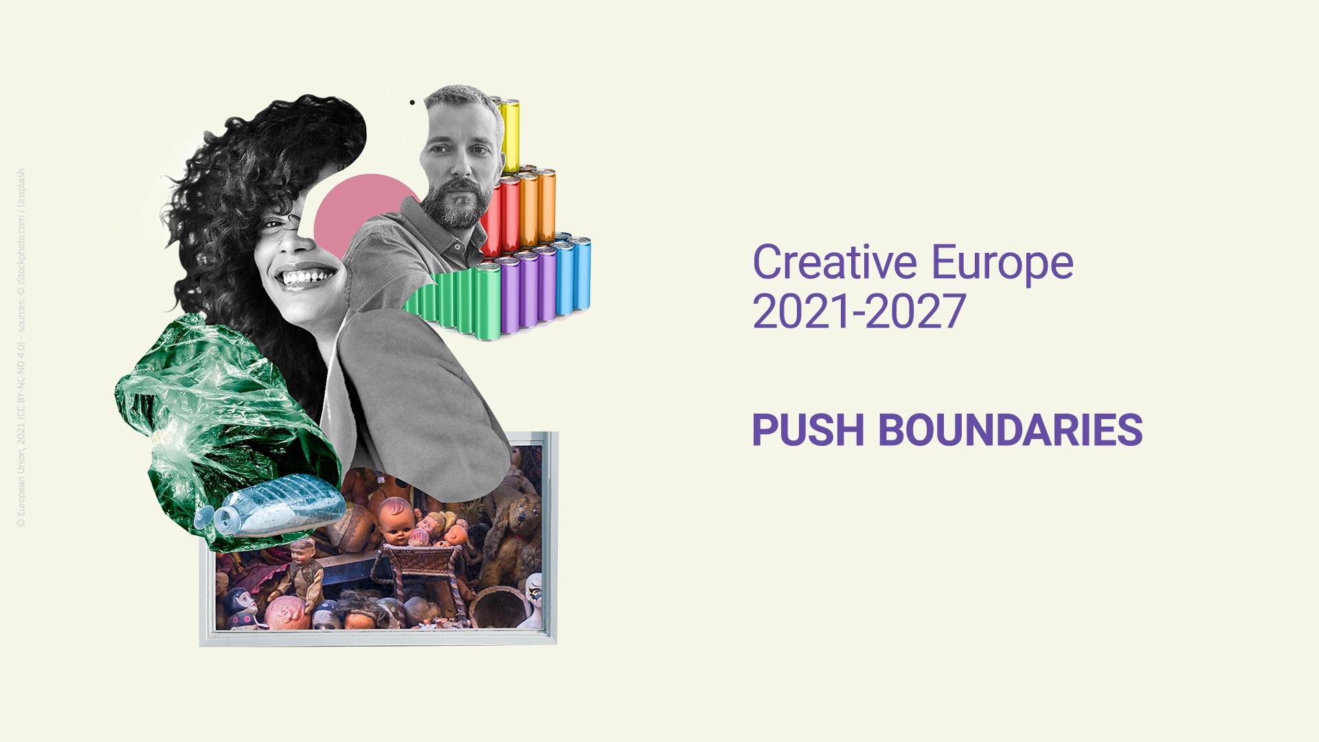 Imagen del nuevo Programa Europa Creativa 2021-2027. Collage compuesto por el rostro de dos personas y elementos creativos alrededor (sprays, materiales reutlizables, etc.)